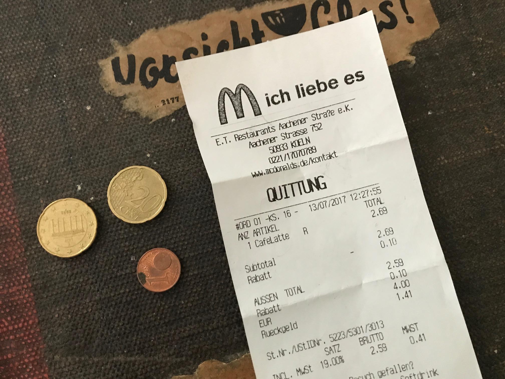 McDonalds Rabatt wiederverwendbarer Becher 10 Cent
